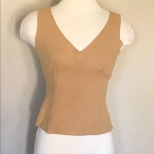 Sleeveless Faux Suede Crop Top